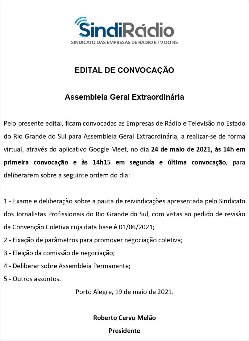 Edital SindiRádio CCT Jornalistas RS 2021 2022 page 0001